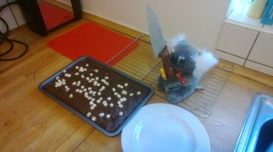 He was *very* keen to cut the brownies...