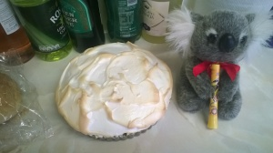 The finished key lime pie.